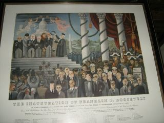 1933 Franklin Roosevelt Inauguration Poster Orig Fdr Miguel Covarrubias Mexico