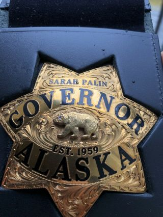 Ed Jones Co.  Gold Filled Solid Gold Diamond Sarah Palin Alaska Governor Badge 2