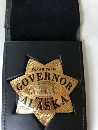 Ed Jones Co.  Gold Filled Solid Gold Diamond Sarah Palin Alaska Governor Badge 3
