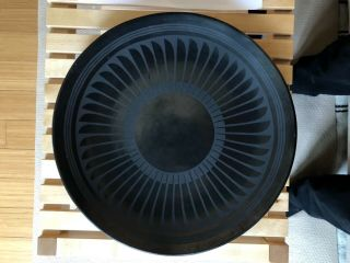 Maria Martinez Pottery - 13 Inch Black On Black,  Feather Pattern Plate