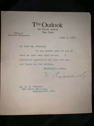 President Theodore Teddy Roosevelt Tls Typed Letter Signed Autographed