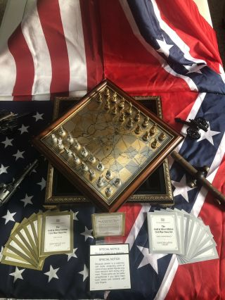 Franklin Civil War Chess Set Gettysburg Gold And Silver Limited Edition