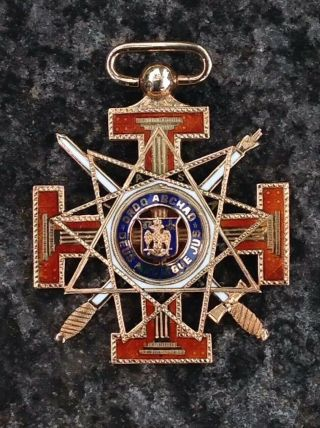 14k Gold Masonic Blue Lodge 32/33 Degree Medal Ordo Abchao Dues Meumque
