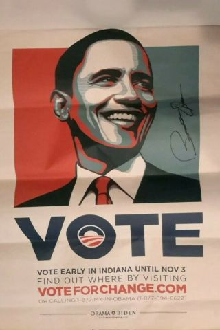 18 X 24 Indiana Vote Poster Autograph By Barack Obama Signed