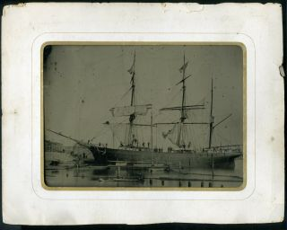 Full Plate Tintype Tall Ship Barque Vesta 1860s & Paper Frame