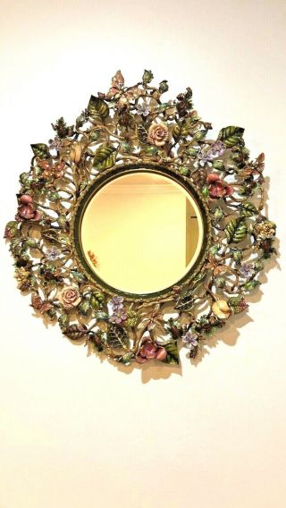 Large Jay Strongwater Enamel & Jeweled Mirror With Foliate & Scroll Circular