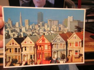 Vintage Old Postcard California San Francisco Full House Painted Victorian Homes