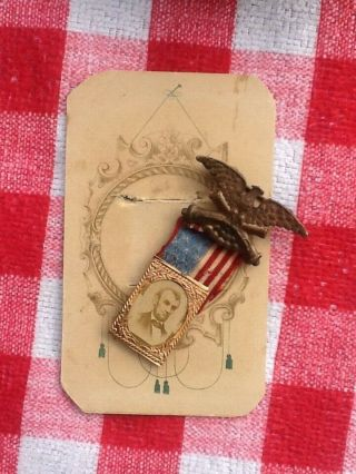 1864 Abraham Lincoln Presidential Campaign Badge/Pin - Union Eagle/Flag - GEM CDV 10