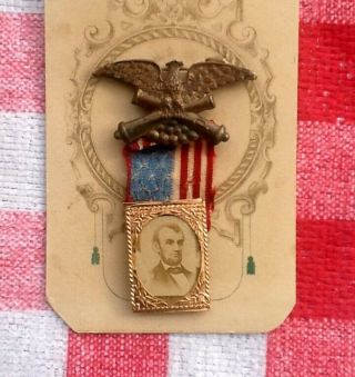 1864 Abraham Lincoln Presidential Campaign Badge/pin - Union Eagle/flag - Gem Cdv