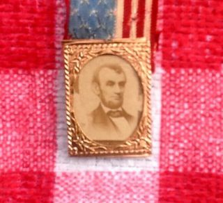1864 Abraham Lincoln Presidential Campaign Badge/Pin - Union Eagle/Flag - GEM CDV 4