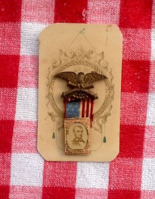 1864 Abraham Lincoln Presidential Campaign Badge/Pin - Union Eagle/Flag - GEM CDV 8