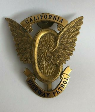 C.  1930s Chp California Highway Patrol Motorcycle Cap Badge Ed Jones Co Hallmark