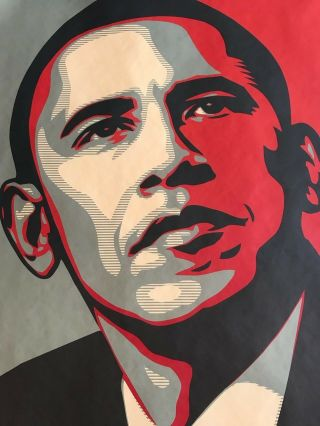Shepard Fairey Obama HOPE 2008 campaign Print hand signed and dated 4