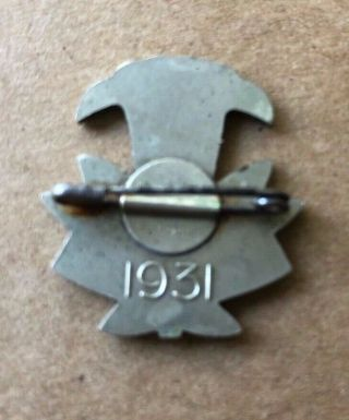 1931 WORLD SCOUT MOOT KANDERSTEG SWITZERLAND,  PARTICIPANT PIN BADGE 2