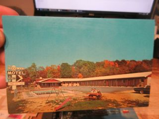 Vintage Old Postcard Maryland Oakland Dreamland Motel Deep Creek Lake Playground