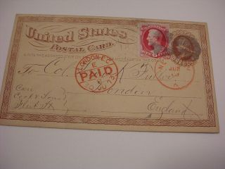 Very Early Overseas 1873 Us Postal Card Brattleboro Vermont & London England Uk
