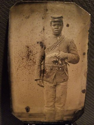 African American Civil War Soldier Sixth Plate Tintype.  Armed With 2 Revolvers.