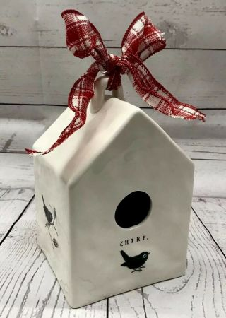 """Chirp Square Birdhouse Rae Dunn By Magenta Ftd 7.  25 """" Tall"""