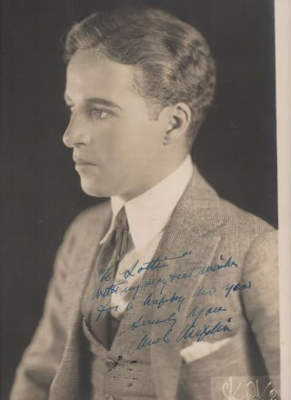 Large 1921 Signed Photo Of Silent Movie Actor Charlie Chaplin By Strauss Peyton