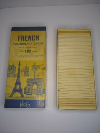 Vintage Vis - Ed French Vocabulary Cards Flash Cards For The Language Student