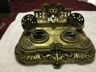 Large Antique Victorian Gilt Bronze Figural Double Inkwell Inkstand