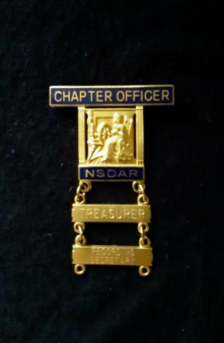 Dar Chapter Officer And 2 Bars Pins Nsdar Daughters American Revolution Insignia