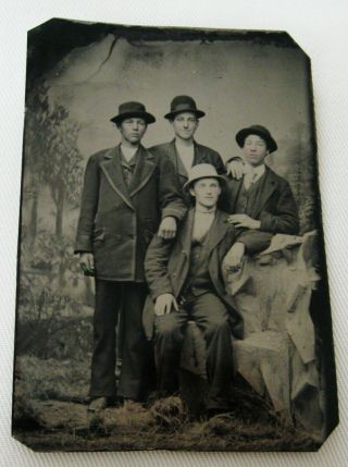 Antique Tintype Photo Of 4 Handsome Dapper Young Men Cool Dudes Wearing Hats