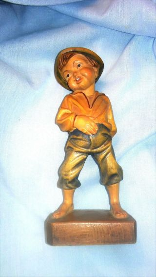"""Hand Carved Wooden Statue Of Italian Boy,  C 1930s - 40s,  6 """" High,  Well Done"""