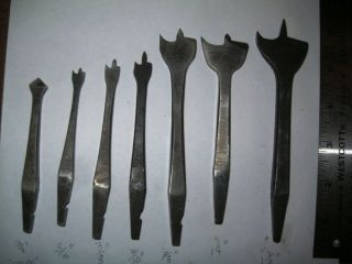 6 Antique Notched Shank Drill (hand Brace) Bits; (unmatched Set=various Makers)