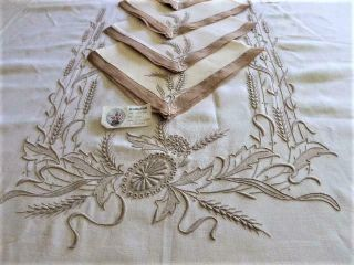 Marghab Wheat Pattern Linen & Margandie Organdy Tablecloth & 12 Napkins