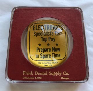 Vintage Magnifying Glass Advertising Paperweight Frink Dental Supply Co.  Chicago