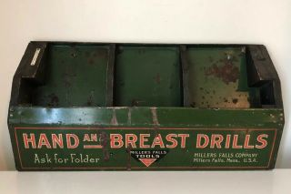 Antique Hand And Breast Hand Drills,  Millers Falls Advertising Shelf Box Display