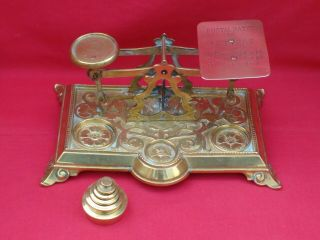 Brass Antique Letter Scales / Postal Balance & Weights.  Postage Rates On Pan