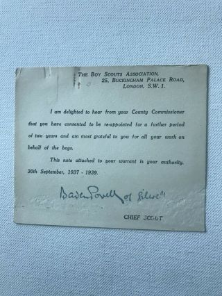Boy Scout Official Letter Signed Baden Powell Dated On 1937
