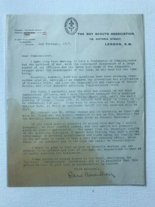 Boy Scout Official Letter Signed Baden Powell Dated On 1917