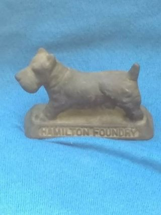 Vintage Cast Iron Advertising Scottie Dog Paperweight Hamilton Foundry Ohio