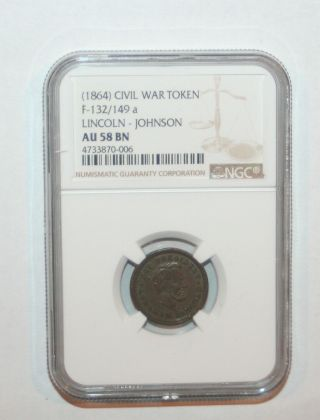 1864 Abraham Lincoln & Johnson Campaign Political Token Medal Pin Ngc Au58 Bn