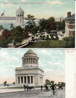 York City 2 Old Postcards Soldiers Sailors Monument And Grants Tomb