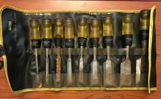 Vintage Stanley No.  60 Butt Chisel With Roll - Wood Chisel Set Of 9