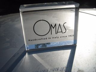 Omas Handcrafted In Italy Since 1925 Lucite Paper Weight Advertising Plaque