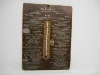 Antique The City Bank Kent Ohio Wall Thermometer Advertising Baking Insurance