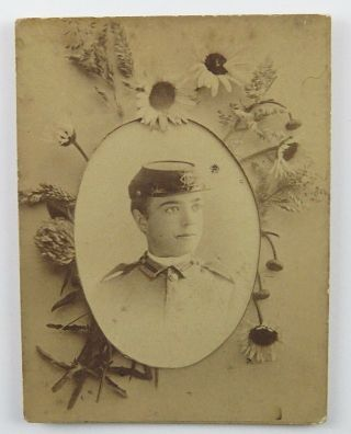 Antique Photograph Of Soldier In Uniform Portrait And Advertising W H Stauffer