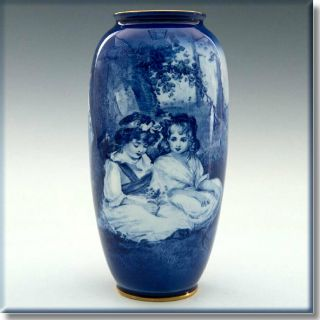 Rare & Desirable Royal Doulton Blue Children Vase Art Nouveau Babes In The Woods