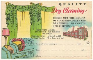 """"""" Quality Dry Cleaning """" Brighton Laundry Brooklyn Ny Advertising Postcard"""