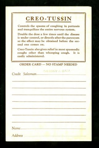 Medical Postcard Advertising Creo Tussin Maltbie Chemical Co.  Newark Jersey