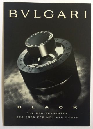 Bvlgari Black With Fragrance Patch Advertising Postcard
