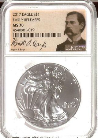 . 999 1oz 2017 American Silver Eagle | Ngc Ms70 | Er | Wyatt Earp Label (r17106)