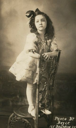 Singer Girl Baby May Advertising For Postcards Antique Real Photo Rppc