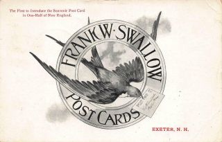 Exeter Nh Frank W.  Swallow Post Cards Advertising Card