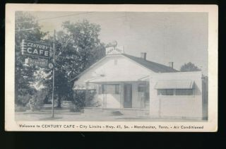 Vintage Century Cafe,  Manchester,  Tennessee Advertising Postcard